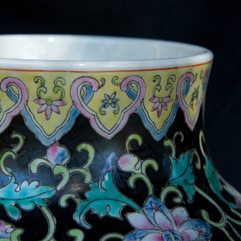 Chinese Famille Noire Vase  - Pottery