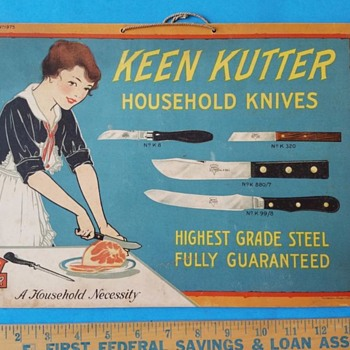 Beautiful Keen Kutter Knife Sign Circa 1930s - Advertising
