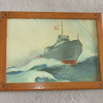 Original WW2 era painting of a USN PT boat - Military and Wartime