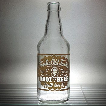 1954 Frostie Old Fashion Root Beer Soda Bottle Anchor Hocking Glass Vintage Collectible ACL - Bottles
