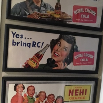 3 paper/cardboard RC and Nehi  trolley signs  - Signs