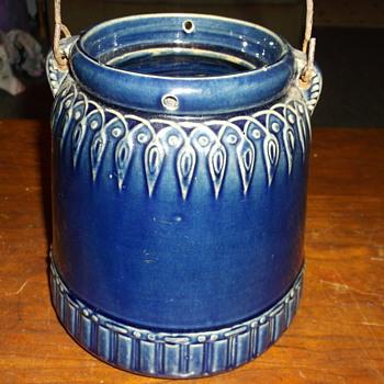 Antique Salt Glaze Cobalt Blue Pot Bucket With Handle Any INFO ????
