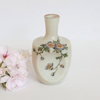 White Riedel Perfume with Enameled Flowers - Art Glass