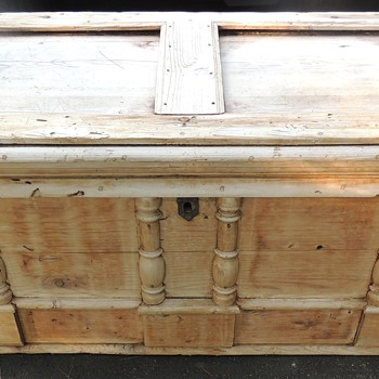 Early Pine Chest - Spindle Decorated - Wrought Hardware - Furniture