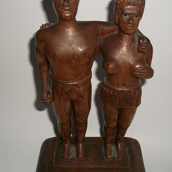 Folk Art Sculpture Carving Nude Man and Woman - Folk Art