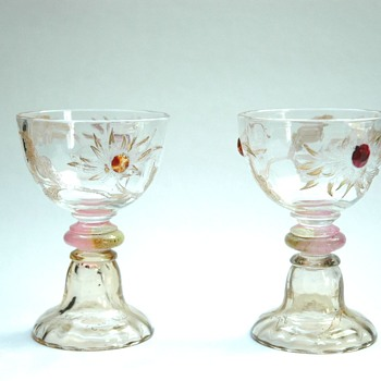 "rare pair of emile gallé "" chrysanthemes"" service  liquor glass. - Art Glass"