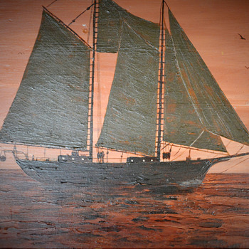 Schooner Sail Boat Painting on Wood - Folk Art