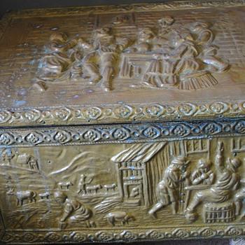 Ash/coal box with hammered copper folk scene - Folk Art