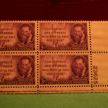 1947 Joseph Pulitzer 3¢ Stamps - Stamps