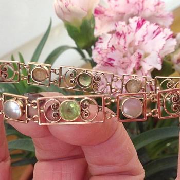 Murrle Bennett Gold, Peridot and Blister Pearl Bracelet - Art Nouveau