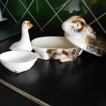 Goose and Rabbit lidded dishes. Butter dish? - Pottery