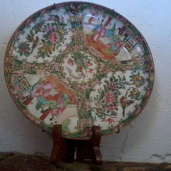 """Asian Plates,set 6,8"""",Old, Painted, with gilt, Domestic Scenes, Birds,little different - Asian"""