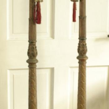 unusual pair of Gesso over wooden floor lamps - funereal?? - Lamps
