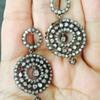Victorian OMC & Cushion Cut Diamond Dangle Earrings Silver & 12k