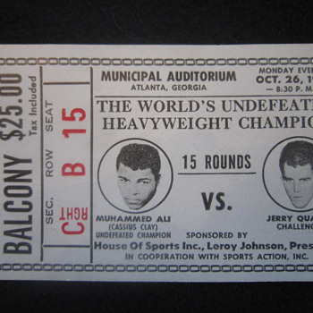 October 26th 1970 Original Muhammed Ali Cassius Clay vs. Jerry Quarry Boxing Event Ticket Stub