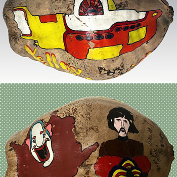 Vintage 1968 Beatles Yellow Submarine Psychedelic Folk Art - Painted and Signed Coconut. - Folk Art