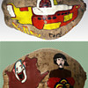 Vintage 1968 Beatles Yellow Submarine Psychedelic Folk Art - Painted and Signed Coconut.