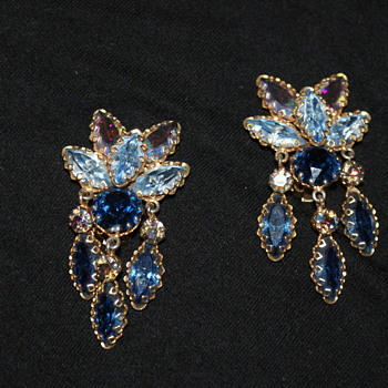 Large Clip-On Earrings: Austrian? - Costume Jewelry