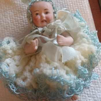 Germany Bisque 5 inch baby doll with dress inside Easter Egg - Dolls