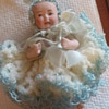 Germany Bisque 5 inch baby doll with dress inside Easter Egg
