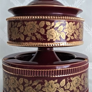 Gilded Oxblood Italian Ashtray & Lidded Tobacco Holder - Pottery