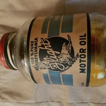Motor oil glass jar - Petroliana