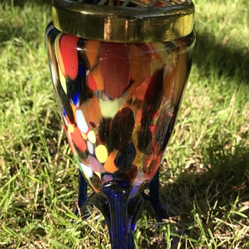 "Czech Art Deco spatter glass ""rocket"" vase with brass flower frog - Art Glass"
