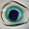 Blue & Green Biomorphic Glass Bowl With BULLICANTE EFFECT by GALLIANO FERRO