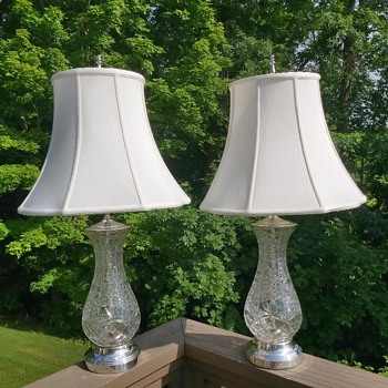 Vintage Crystal Lamps with Silver plated base, top, harp & finial - Glassware