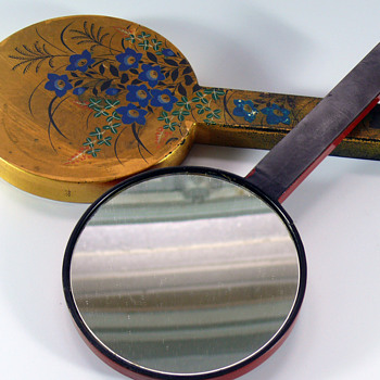 handpainted gold japonism lacquer hand mirror set - Accessories