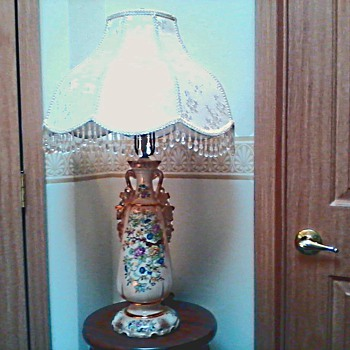 Beautiful Hand Painted Oriental Floral Lamp with Gold Accents / Circa 1940's - Lamps