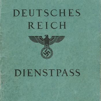 1938 German Dienstpass (Service Passport) - Paper