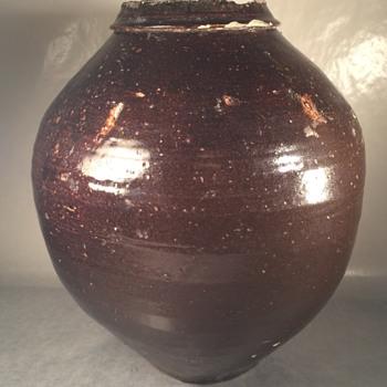 Amazing old glazed brown black Chinese stoneware vase - Asian