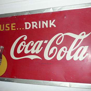 Coca Cola Sign Large Tin 1947 - Coca-Cola