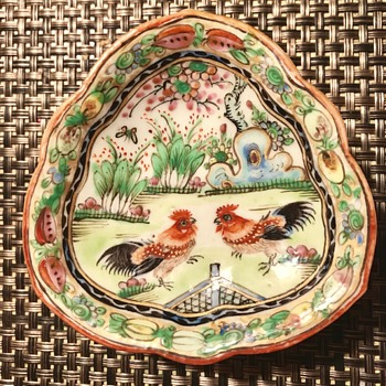Sweet Chinese Mini Ashtray with Roosters ????