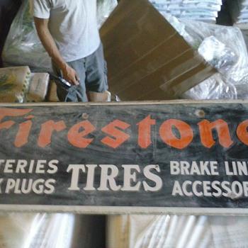 Firestone porcelain dealer sign