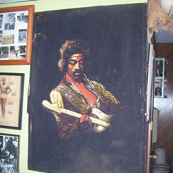 jimi hendrix moterey pop fest black velvet painting - Music Memorabilia