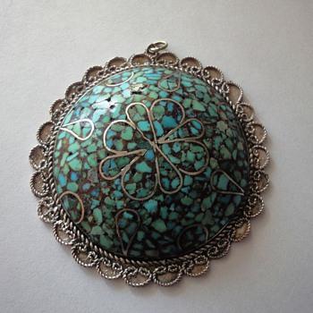 Mosaic  silver pendant - Costume Jewelry