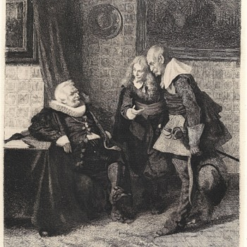 "Post 3 of 20--Etching by MAX VOLKHART""The Hearing before the Burgomaster""1880 - Books"
