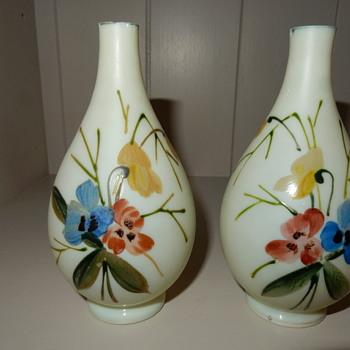 Harrach uranium cased glass vases. - Art Glass