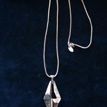 Silvertone Geometric Industrial shape Pendant by Vendome