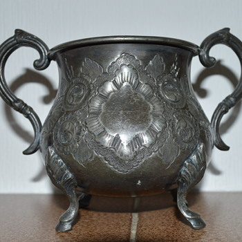 Vintage or antique pewter cauldron