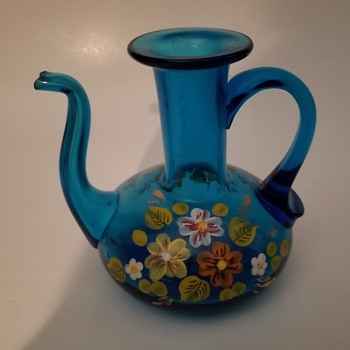 Little Hand Decorated/Enameled Glass Cruet - Glassware