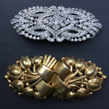 Trifari Clipmates (Duette) Brooches  - Costume Jewelry