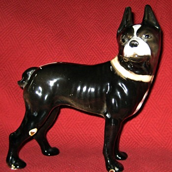 Vintage Boston Bull Terrier Doorstop (Porcelain Enameled) - Animals