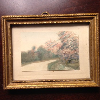 Vintage Small Scale Framed Landscape Painting - Folk Art Unsolved Mystery - Fine Art