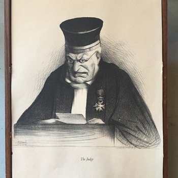 Print of  what appears to be charcoal drawing Titled: The Judge...