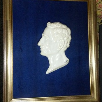 Porcelain Caesar Augustus Profile Bust Mounted in Original Frame by Boehm - Pottery