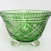 Loetz Tri-footed Green Cut Glass Bowl