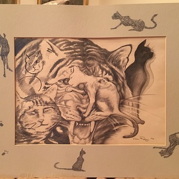 CATS NINE LIVES drawing - REALLY UNIQUE - ARTIST I.D.??? - Fine Art